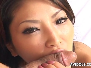 Beautiful Oriental beauty Saya dick sucking uncensored