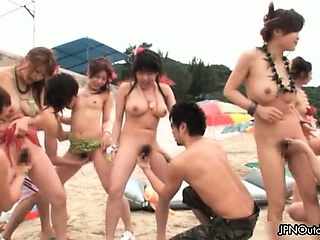Outdoor beach sex with a hot group part2